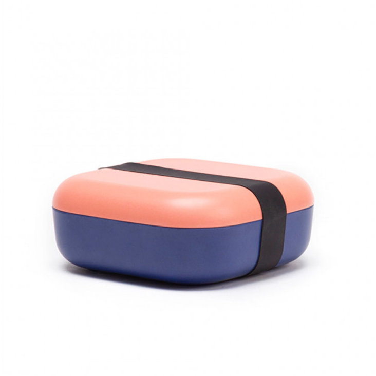 Bambusfaser Snack Box Coral/Royal Blue