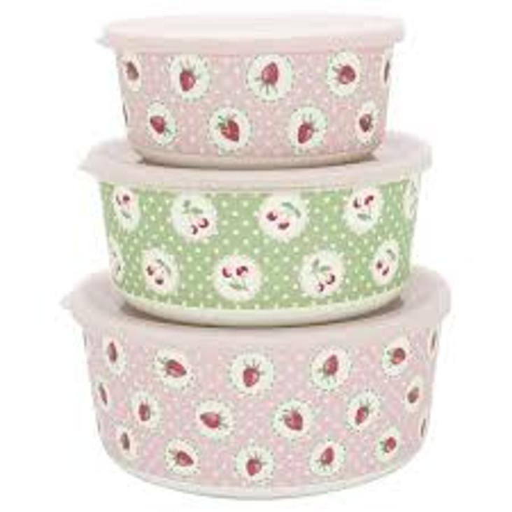 3er Set Frischhaltedosen Greengate Strawberry pale pink