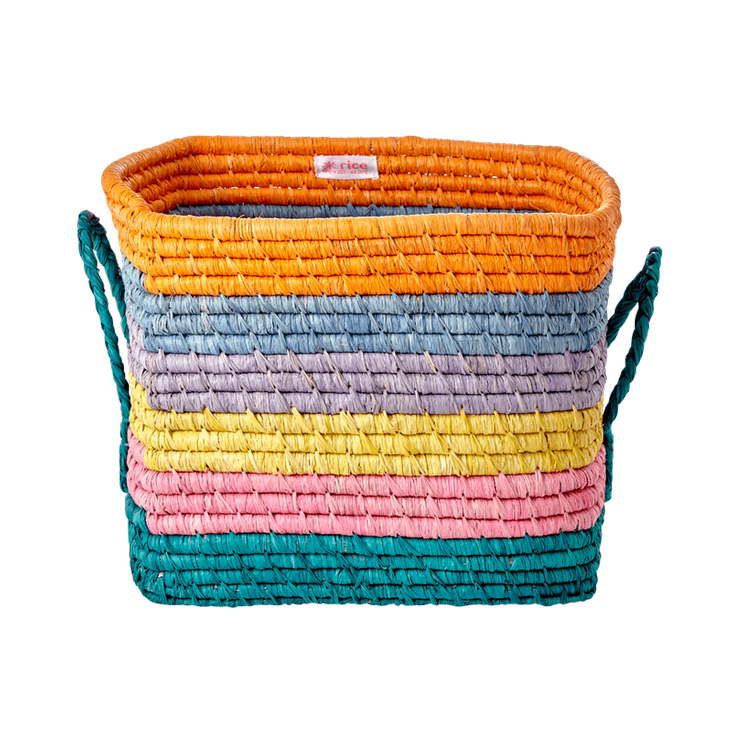 SQUARE RAFFIA BASKET - STRIPES PRINT