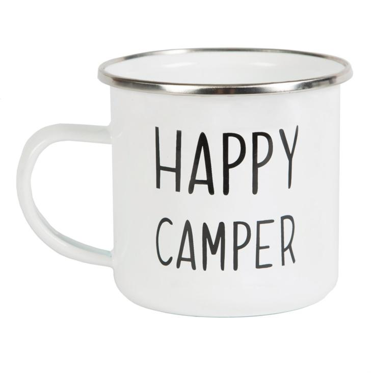 Happy Camper Emaille Tasse