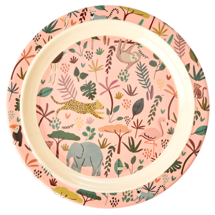 Rice Kinderteller - All over Jungle Animals Print - Coral