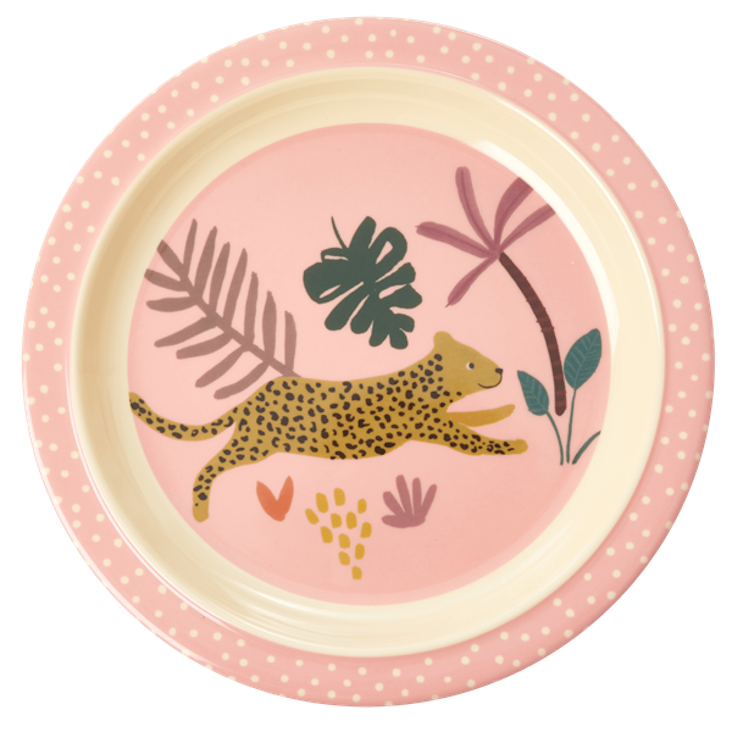 Rice Kinderteller - Jungle Animals Print - Pink