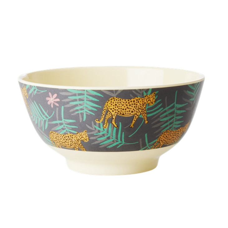 Rice Melamin Schüssel Leopard and Leaves Print - Medium