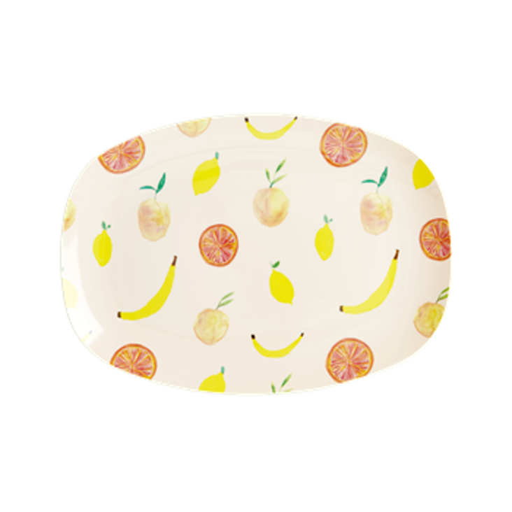 Rice Melamin Platte Happy Fruits Print - Small