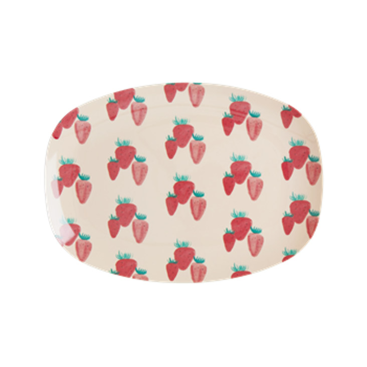 Rice Melamin Platte Strawberry Print - Small