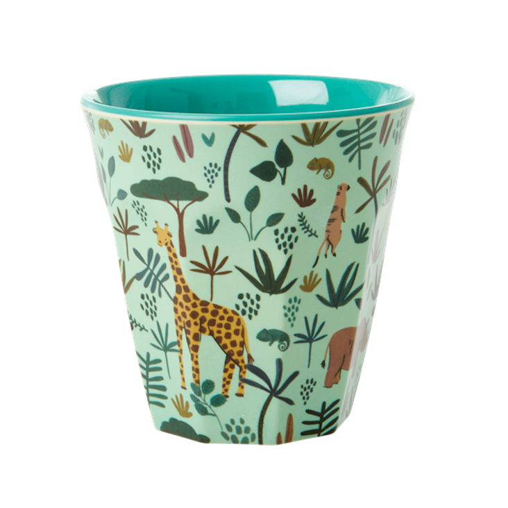 Rice Melamin Becher - All over Jungle Animals Print - Grün