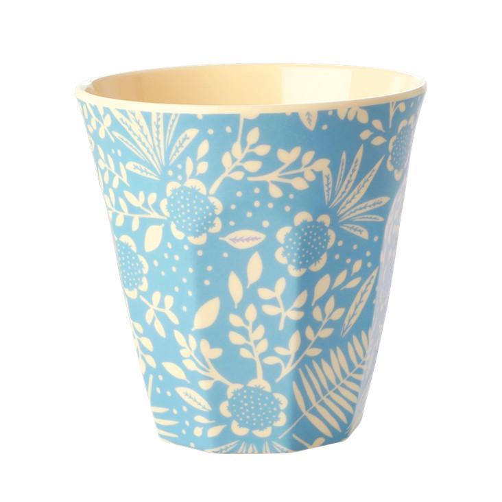 Rice Melamin Becher Blue Fern & Flower Print