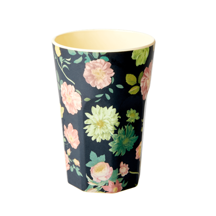 Rice Melamin Becher gross Dark Rose Print