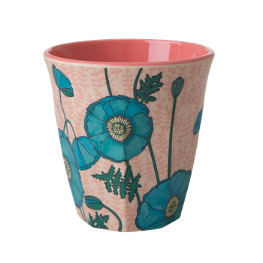Rice Melamin Becher Blue Poppy Print
