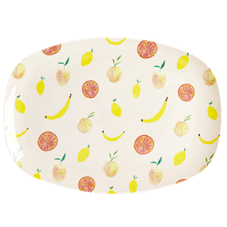 Rice Melamin Platte Happy Fruits Print