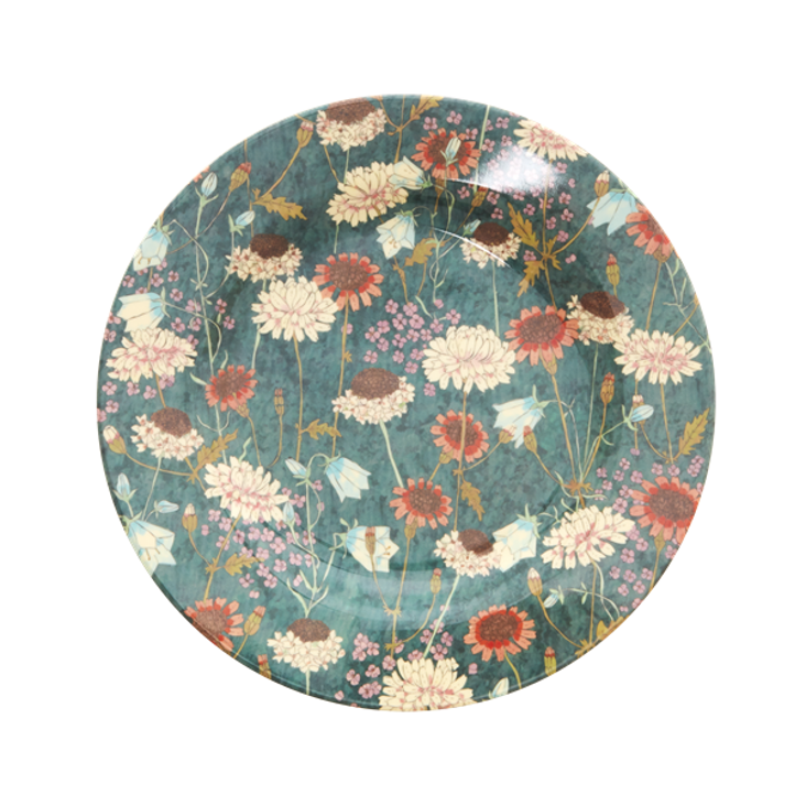 Rice Melamine Dinner Plate Fall Flower Print