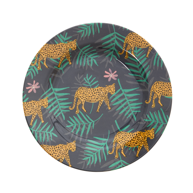 Rice Melamine Dinner Plate Leopard and Leaves Print